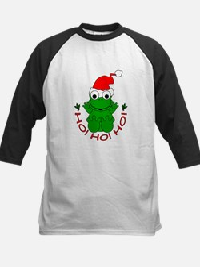Cartoon Frog Santa Kids Baseball Jersey