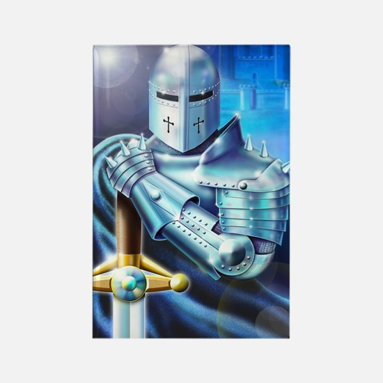 Blue Knight Rectangle Magnet