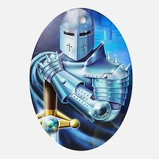 Blue Knight Oval Ornament