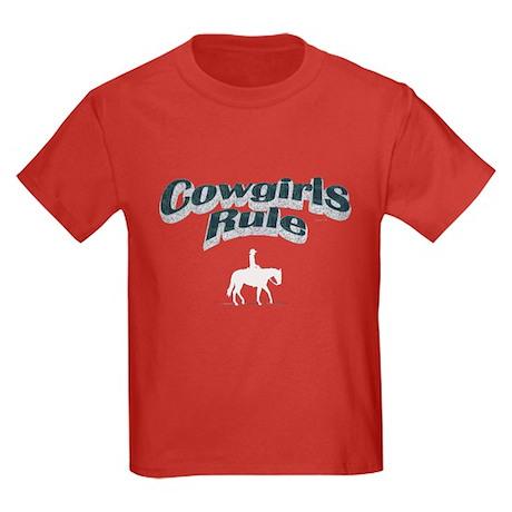 Cowgirls Rule Kids Dark T-Shirt