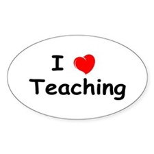 I Heart Teaching Oval Decal