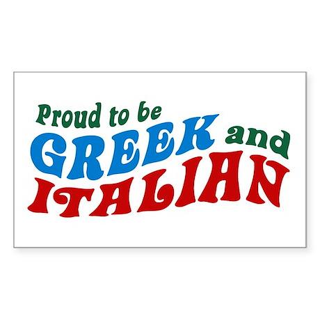 Proud Greek and Italian Rectangle Sticker