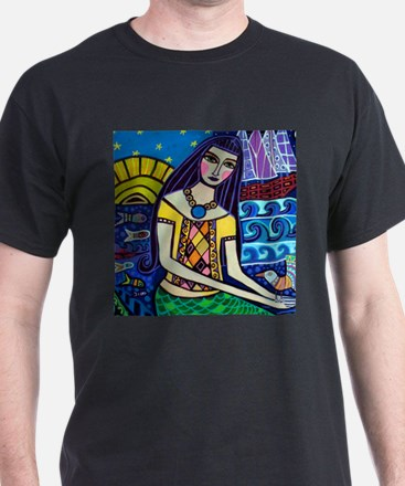 Mermaid Art - Heather Galler Folk Art T-Shirt