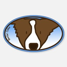 Anime Brown Border Collie Oval Decal