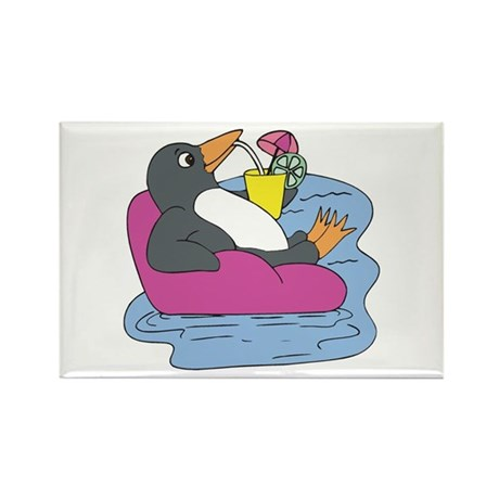 Penguin on Vacation Rectangle Magnet (10 pack)