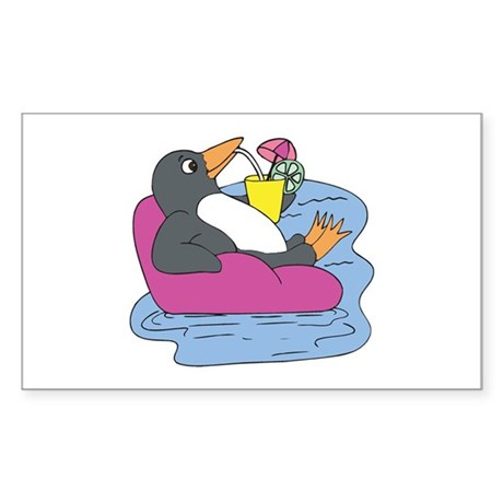 Penguin on Vacation Rectangle Sticker