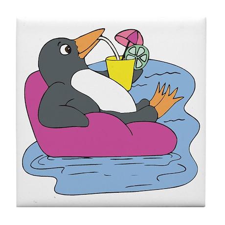 Penguin on Vacation Tile Coaster