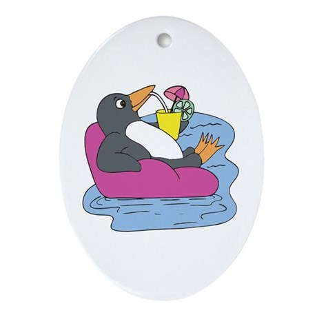 Penguin on Vacation Oval Ornament