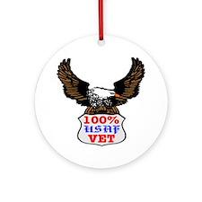 100% USAF Vet Eagle Ornament (Round)
