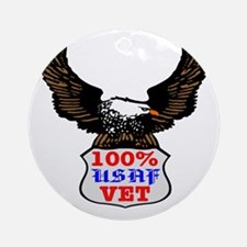 100% USAF Vet Eagle Ornament (Round)