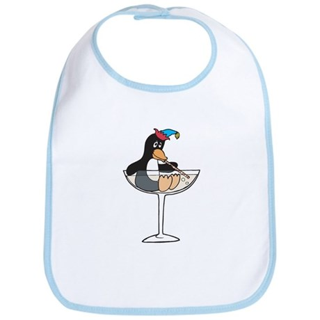 Partying Penguin in Champagne Glass Bib