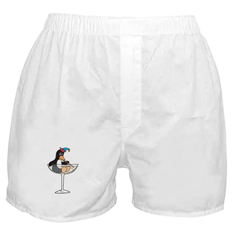 Partying Penguin in Champagne Glass Boxer Shorts