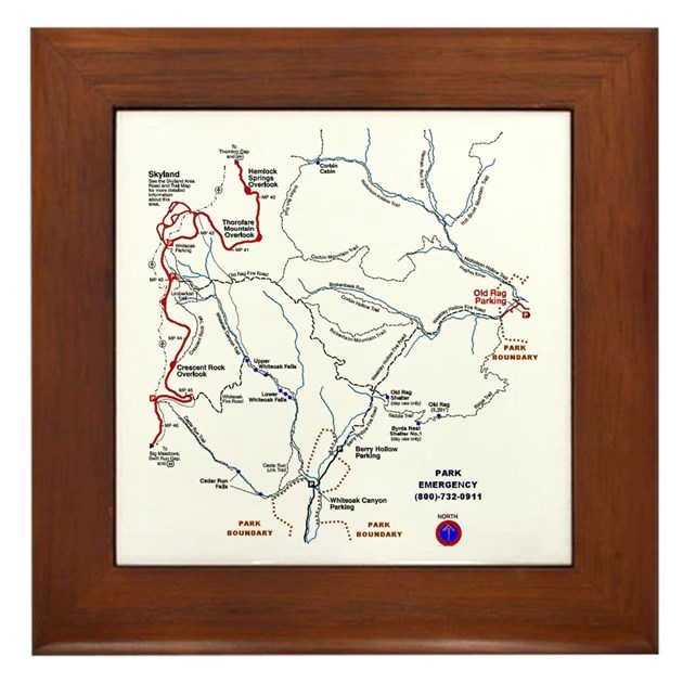 Old Rag Mountain Trail Map Framed Tile By Oldragtrailmap