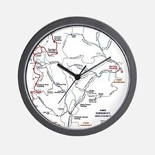 Old Rag Mountain trail map Wall Clock