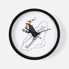 Happy Skiing Penguin Wall Clock