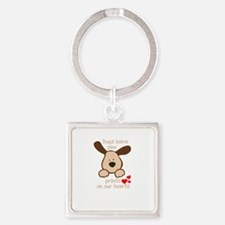 dogs leave paw prints on our hearts Keychains