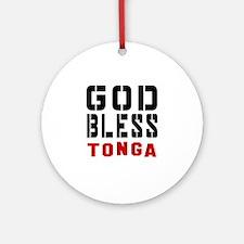 God Bless Tonga Round Ornament