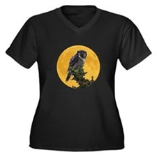 Owl and Moon Women's Plus Size V-Neck Dark T-Shirt