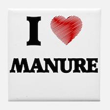 I Love Manure Tile Coaster