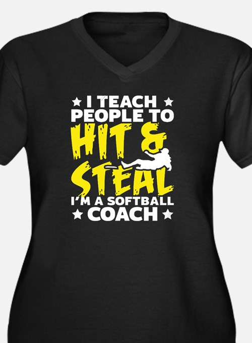 Cute Softball coach Women's Plus Size V-Neck Dark T-Shirt