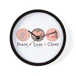 Peace Love Cheer Cheerleader Wall Clock