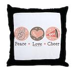 Peace Love Cheer Cheerleader Throw Pillow