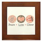 Peace Love Cheer Cheerleader Framed Tile