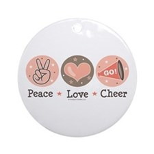 Peace Love Cheer Cheerleader Ornament (Round)