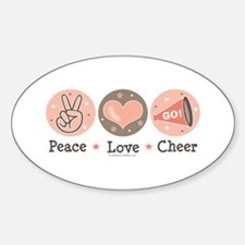 Peace Love Cheer Cheerleader Oval Decal