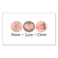 Peace Love Cheer Cheerleader Rectangle Decal