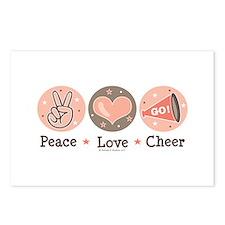 Peace Love Cheer Cheerleader Postcards 8 Pk