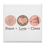 Peace Love Cheer Cheerleader Tile Coaster