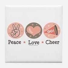 Peace Love Cheer Cheerleader Tile Coaster