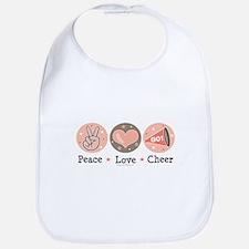 Peace Love Cheer Cheerleader Bib