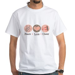 Peace Love Cheer Cheerleader White T-Shirt