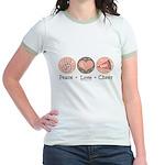Peace Love Cheer Cheerleader Jr. Ringer T-Shirt