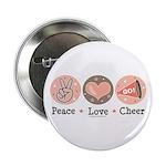 Peace Love Cheer Cheerleader Button