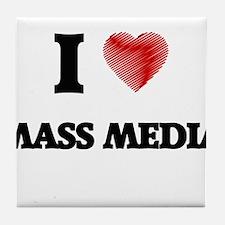 I Love Mass Media Tile Coaster