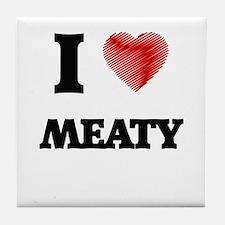 I Love Meaty Tile Coaster