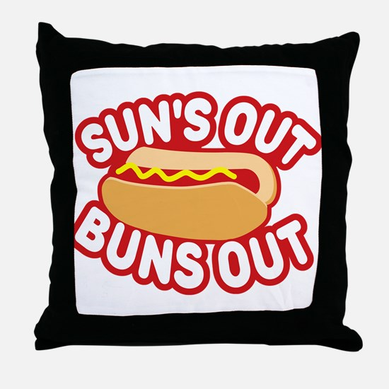 Sun's Out Buns Out Throw Pillow