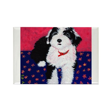 Old English Sheepdog Puppy ~ Rectangle Magnet (10