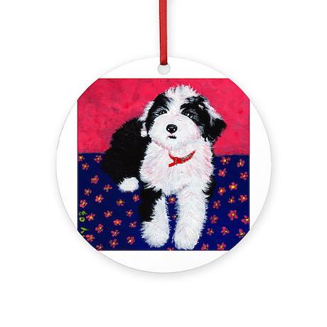 Old English Sheepdog Puppy ~ Ornament (Round)