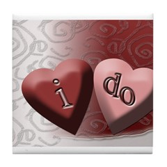 I Do Candy Heart Tile Coaster