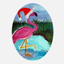 Santa Flamingo Oval Ornament