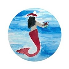 Santa Mermaid Ornament (Round)