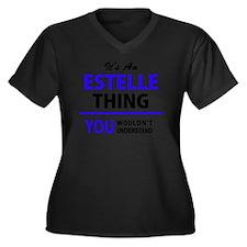 Cool Estelle Women's Plus Size V-Neck Dark T-Shirt