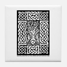 Celtic Knot Bare Branches Tile Coaster