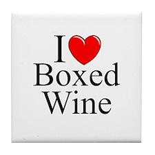 """I Love (Heart) Boxed Wine"" Tile Coaster"