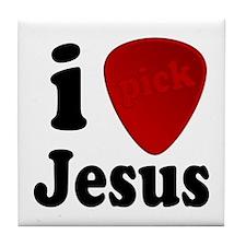I Pick Jesus Guitar Pick Tile Coaster