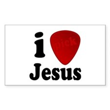 I Pick Jesus Guitar Pick Rectangle Decal